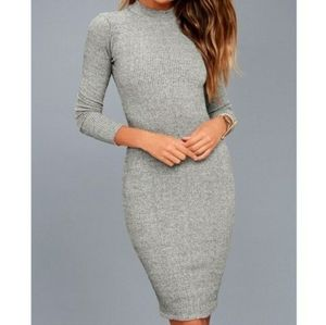 Lulu's I Mist You gray ribbed knit sweater dress